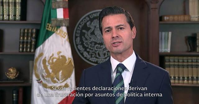 VIDEO; Finalmente Peña Nieto envía mensaje a Trump defendiendo a México