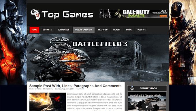 Demonstração template Top Games para Blogspot de Jogos 2018