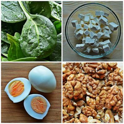 Sałatka ze szpinakiem, jajkami, fetą i sosem ziołowo-czosnkowym - Składniki