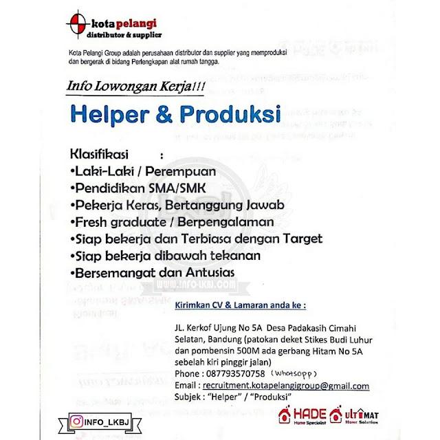 lowongan kerja helper dan produksi bandung