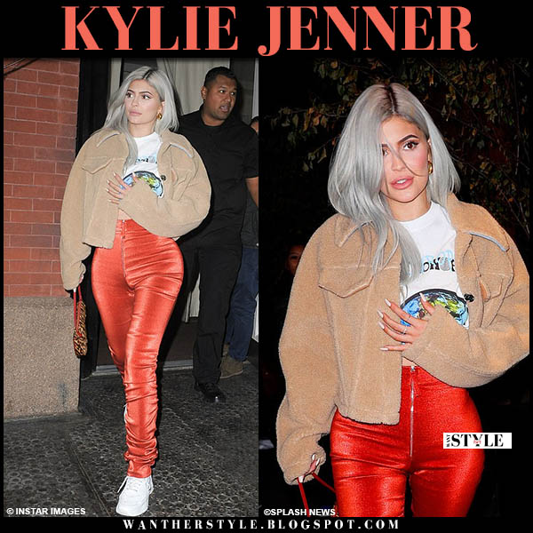 Kylie Jenner in beige off-white teddy jacket and red pants celebrity night out style november 27