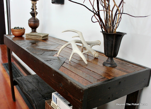 Table made from pallets, lath, fence boards and barn wood
