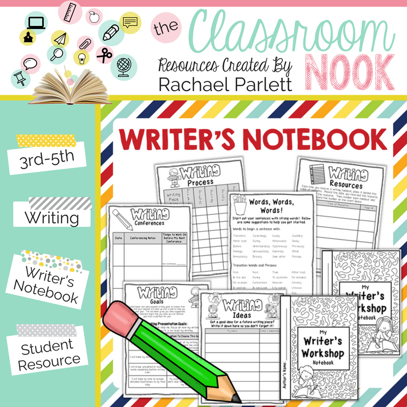 Use a writer's notebook to help keep students organized during writer's workshop including keeping track of writing goals, current writing pieces, conference notes and more!