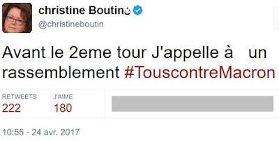 Christine Boutin appelle à voter contre Macron