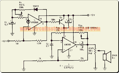 Programmable Siren Circuit Diagram with LM380