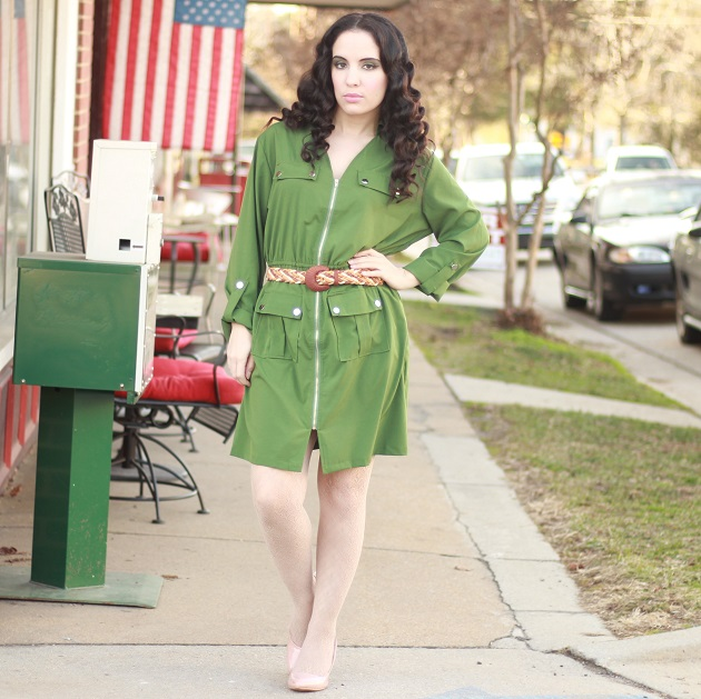 Zeagoo Green Zip Front Dress