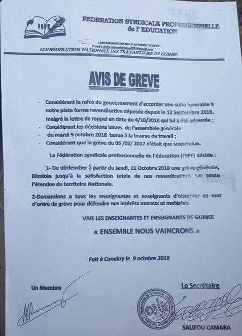 Guinée : Education, avis de grève  de la Fédération Syndicale Professionnelle de l'éducation (FSPE)