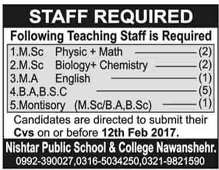Jobs in Nishtar Public School & College Nowshera