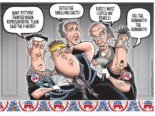 Cartoon deriding Republican faux outrage at someone's saying