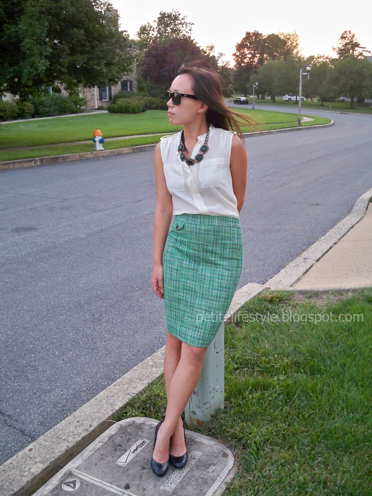 a8a0904a5f BR silk shell, J.Crew tweed pencil skirt, Talbots necklace, Ann Taylor  perfect pumps