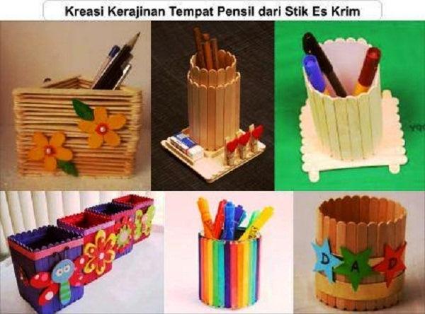 kreasi kerajinan tempat pensil dari stik eskrim