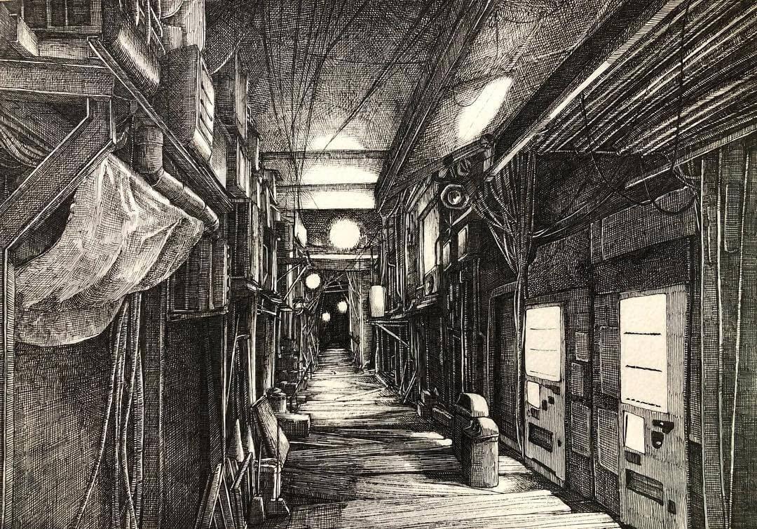 01-Night-ibsuki-Urban-Architectural-Pen-Drawings-www-designstack-co