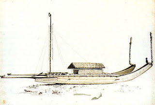 A Tahitian tipaerua, drawn by John Webber