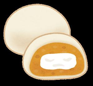 クリーム大福のイラスト(オレンジ)