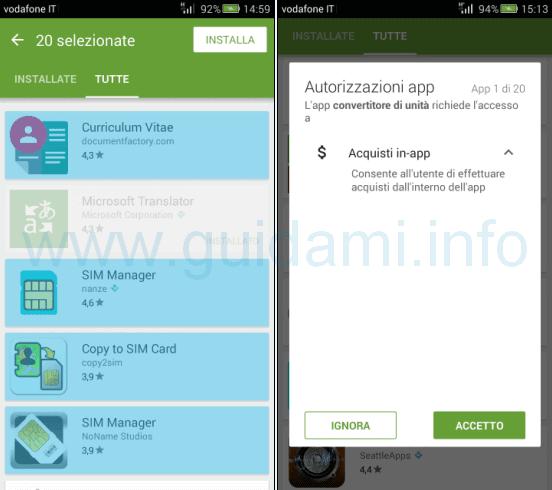 Play Store Android reinstallare più app in una volta