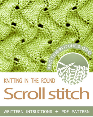 Circular Knitting - Scroll Lace stitch pattern. Techniques Used: Working in the round, Knit, Purl, Yarn over, K2tog, and SSK #CircularKnitting