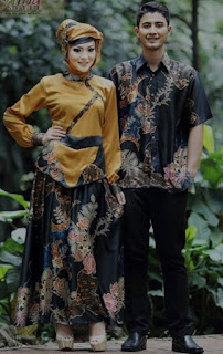 Model baju batik muslim couple elegan