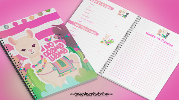 Planner 2019 gratuito para download Lhama Rosa