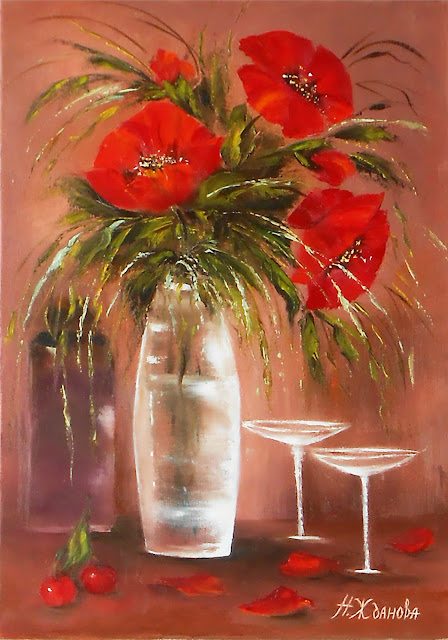 Red poppy painting Still life flowers painting canvas