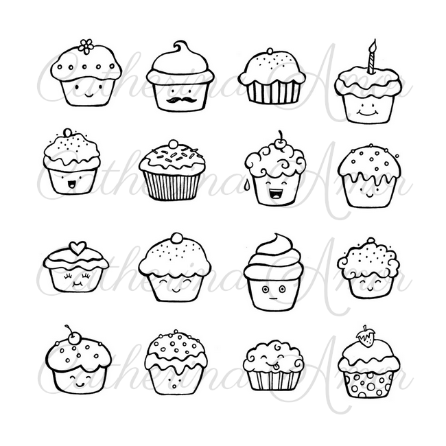 Kawaii Cupcake Doodles by Catherina Amor