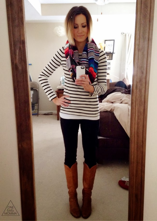 Striped tee, serape scarf and tall tan boots- Everyday style with ONE llittle MOMMA