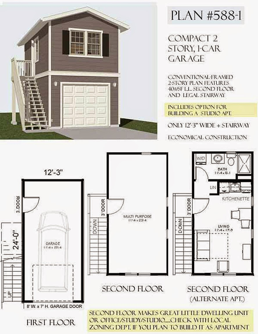 Garage plan 588 1 1 car 2 story with apartment 12 4 x 24