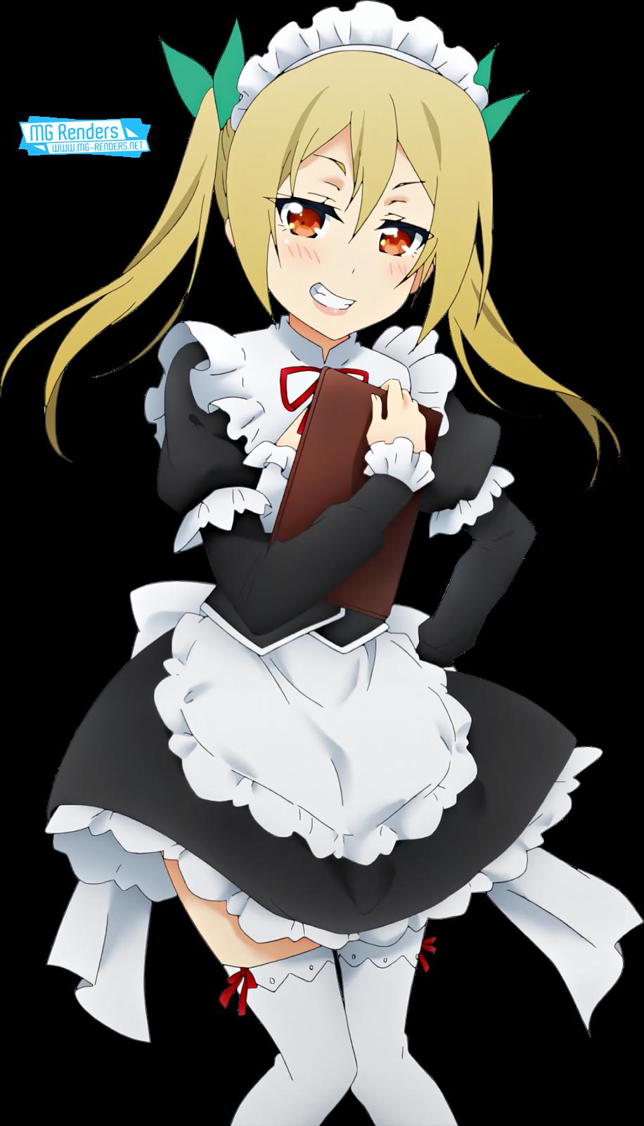 Tags: Anime, Render,  Dress,  Maid,  Netoge no Yome wa Onnanoko ja Nai to Omotta,  Segawa Akane,  Skirt,  Small breasts,  PNG, Image, Picture
