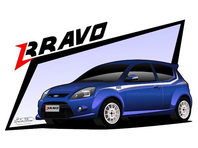 Imagem mostrando o desenho do Ford Ka 2013 ''RS''
