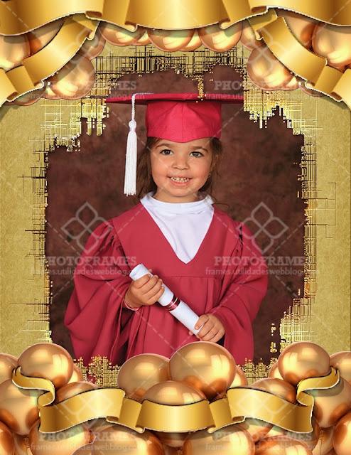 Marco para fotos de graduación de color dorado
