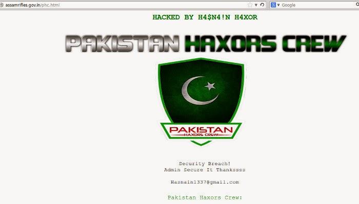 Official website of Assam Rifles hacked by Pakistan Haxors CREW - E