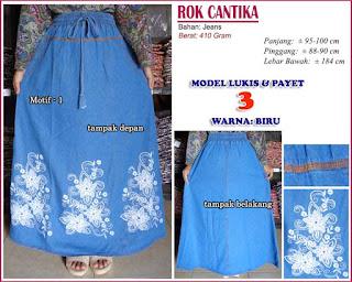 Rok jeans panjang model payet 3 - Cantika biru