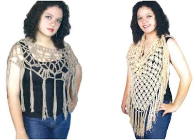 2 Pashminas caladas clasicas de crochet