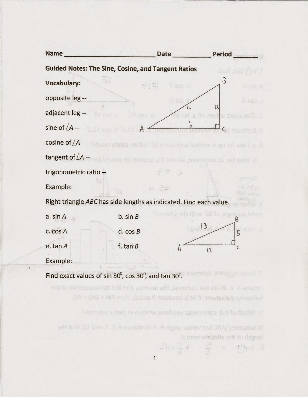 Geometry Common Core Style Lessons 14 3 And 14 4 The Sine Cosine And Tangent Ratios Day 144
