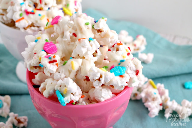 Get the party started with this festive, cake batter flavored Funfetti Cupcake Popcorn.