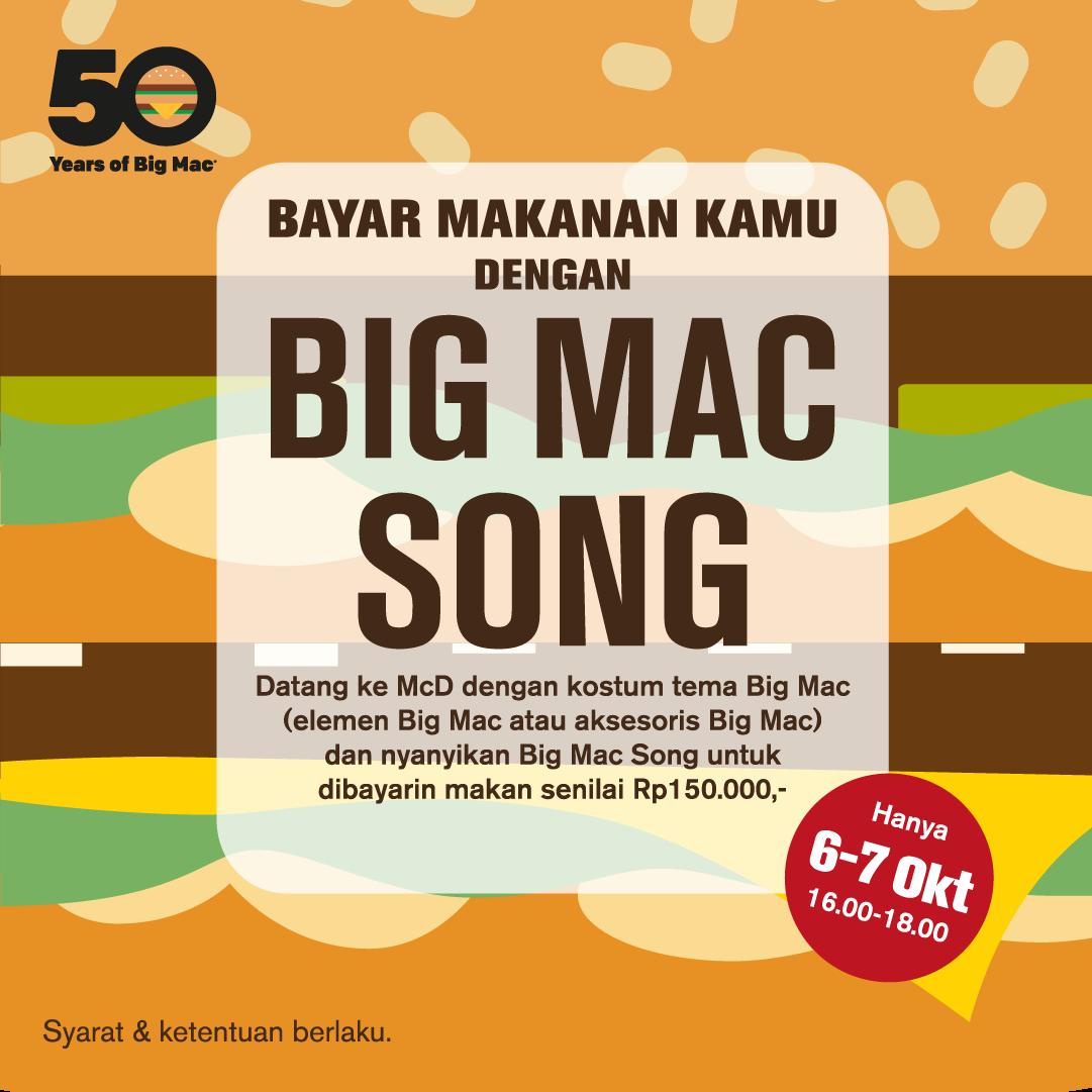 McDonalds - Promo Traktir s.d 150Ribu di Dengan BigMac Song (s.d 7 Okt 2018)