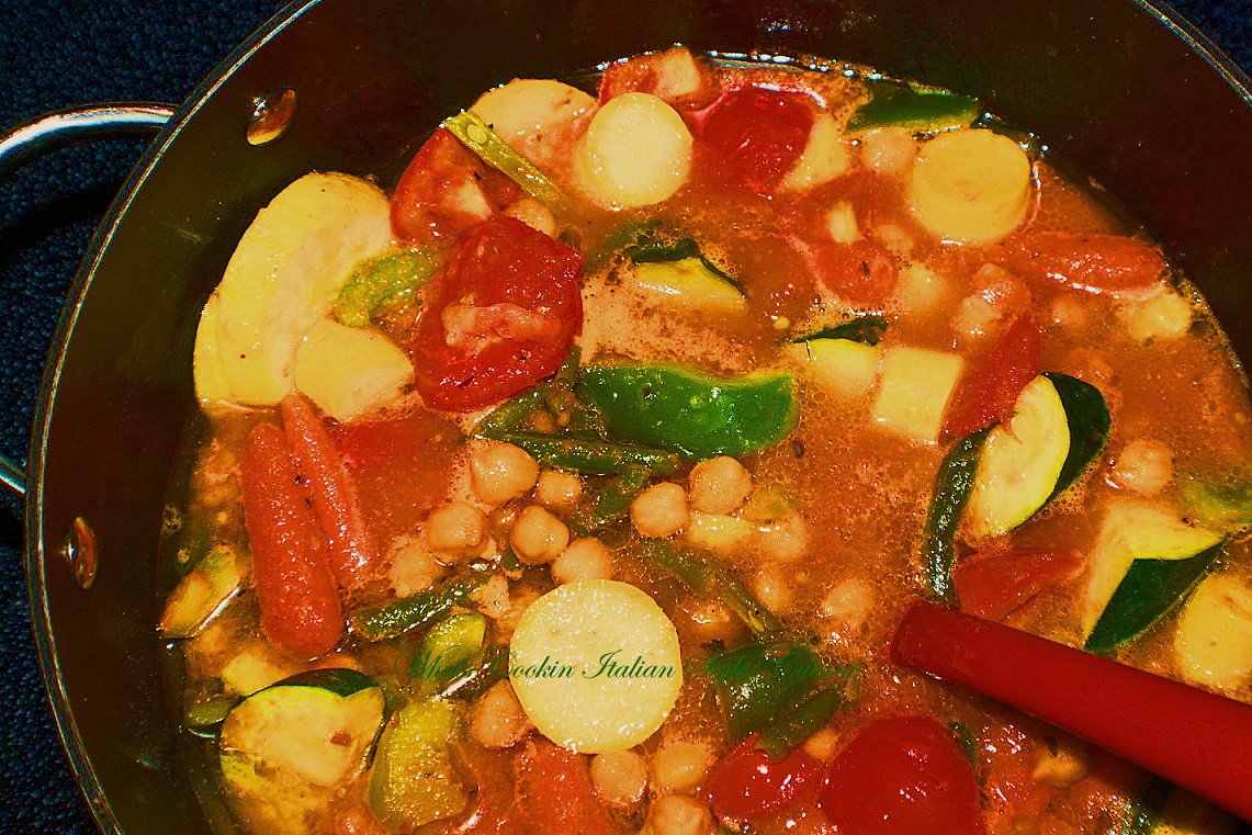 Vegetables of all kinds simmered slow in a tomato sauce and in a pan to put over your favorite pasta