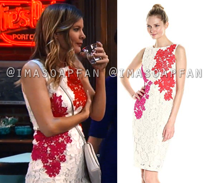 Nina Reeves, Michelle Stafford, White Lace Dress with Pink and Red Embroidered Flowers, General Hospital, GH