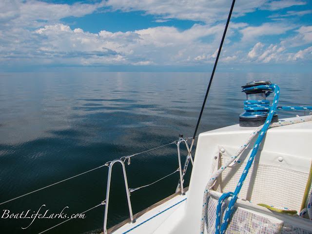Sailing calm waters of Pamlico Sound, North Carolina