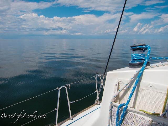 Sailing calm waters of Pamlico Sound, North Carolina