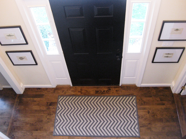 carpet in foyer pewtersage mini foyer update chevron rug