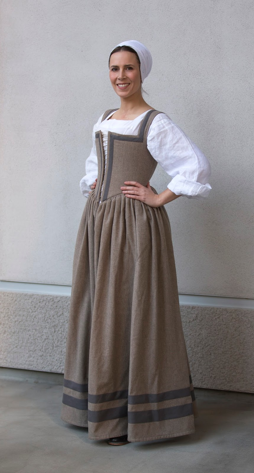 WastedWeeds~: Beige-Brown Kirtle with Grey Guards