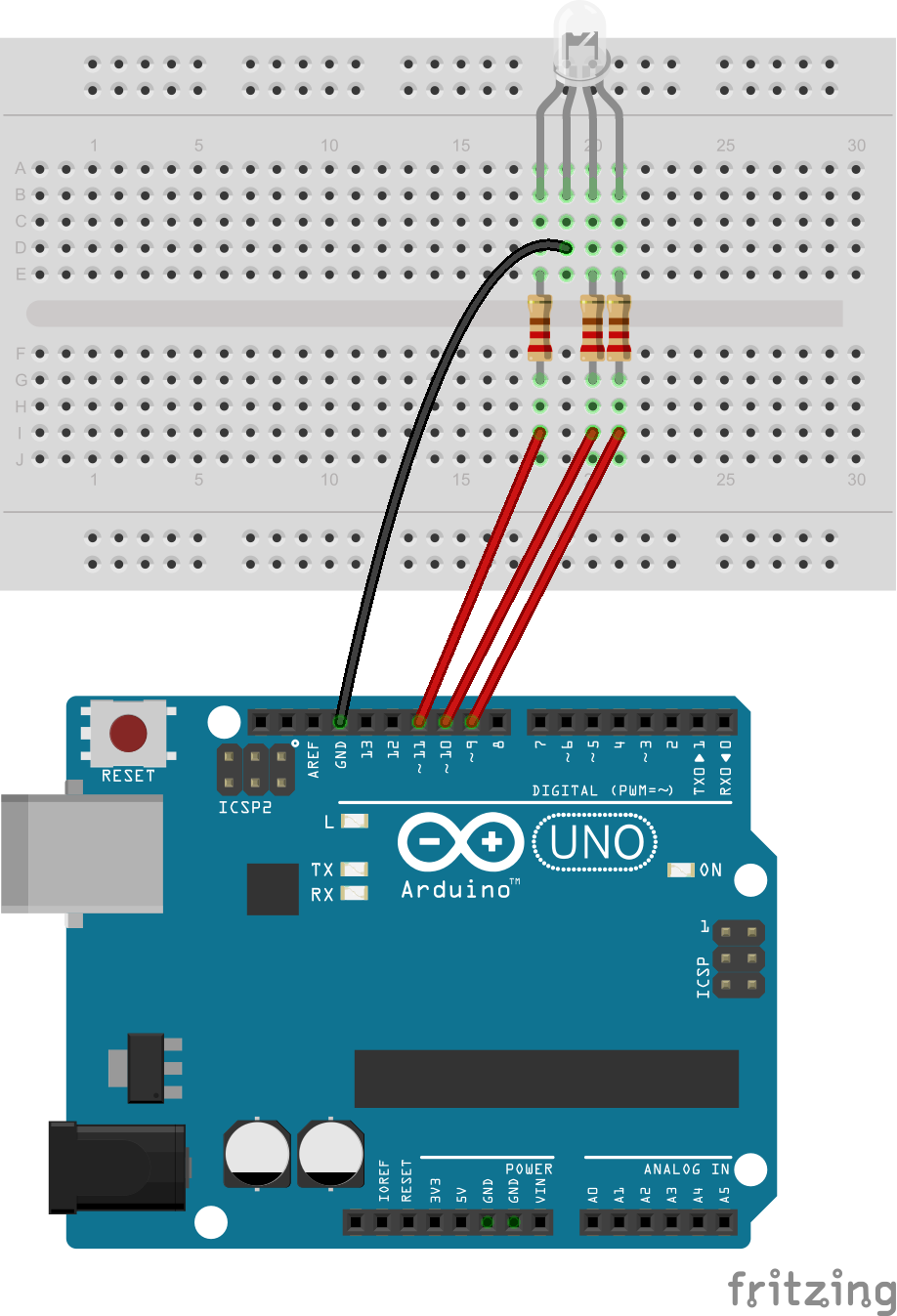 Fading colors with an RGB LED - Yet Another Arduino Blog