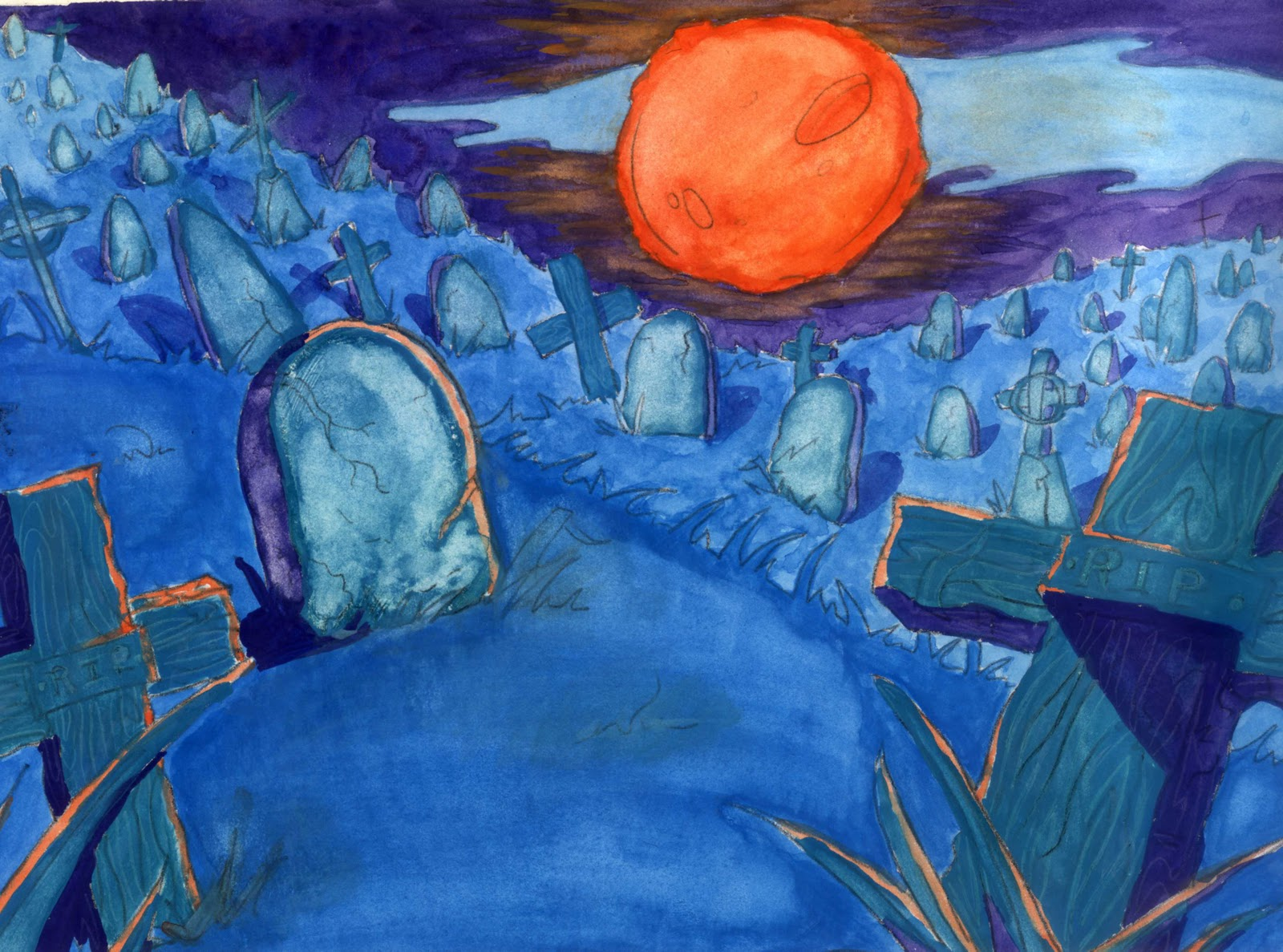 Complementary Colors Painting Orange And Blue