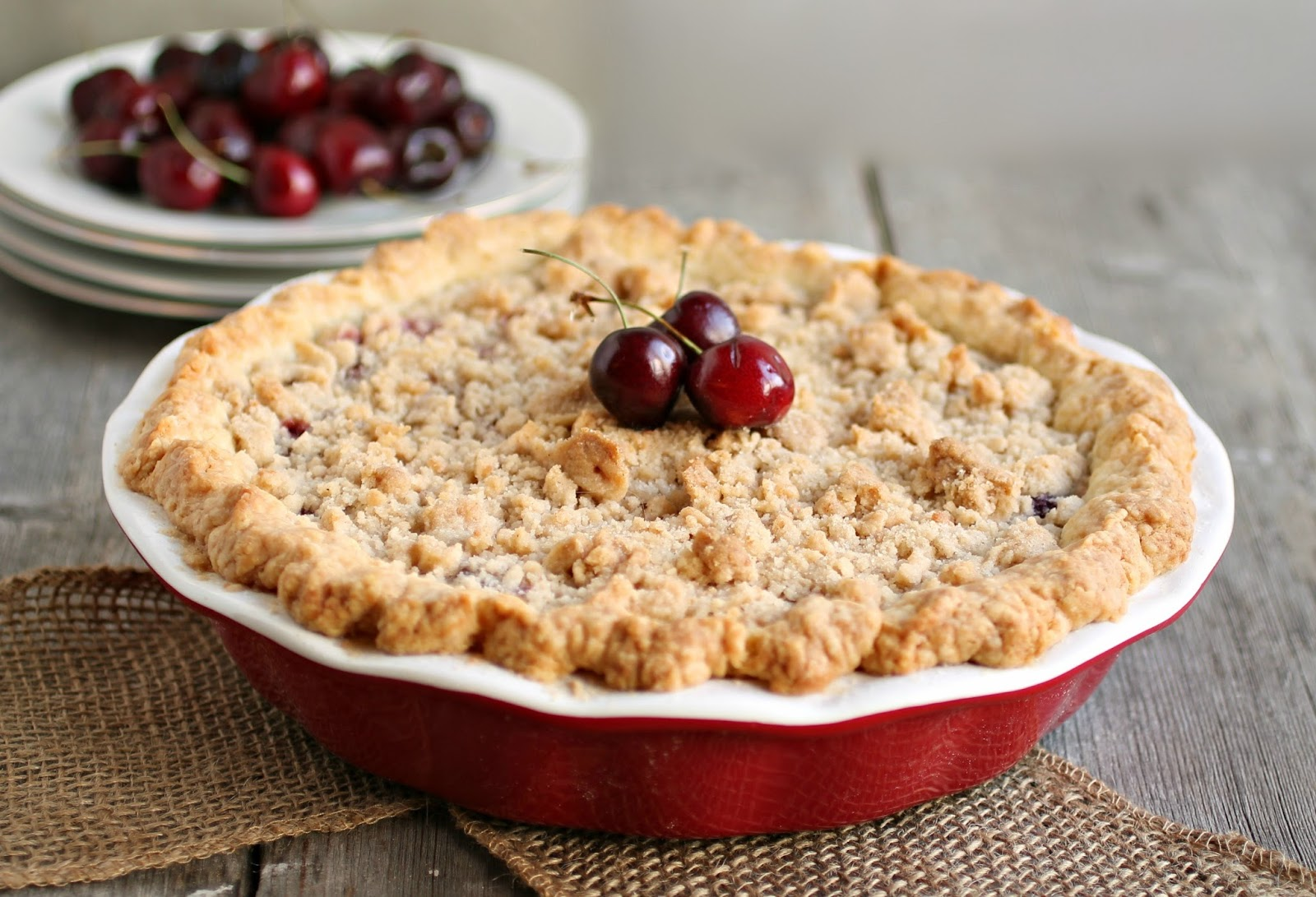 Apple and Cherry Pie with Oatmeal Crumble Topping Recipe ... |Cherry Pie With Crumb Topping