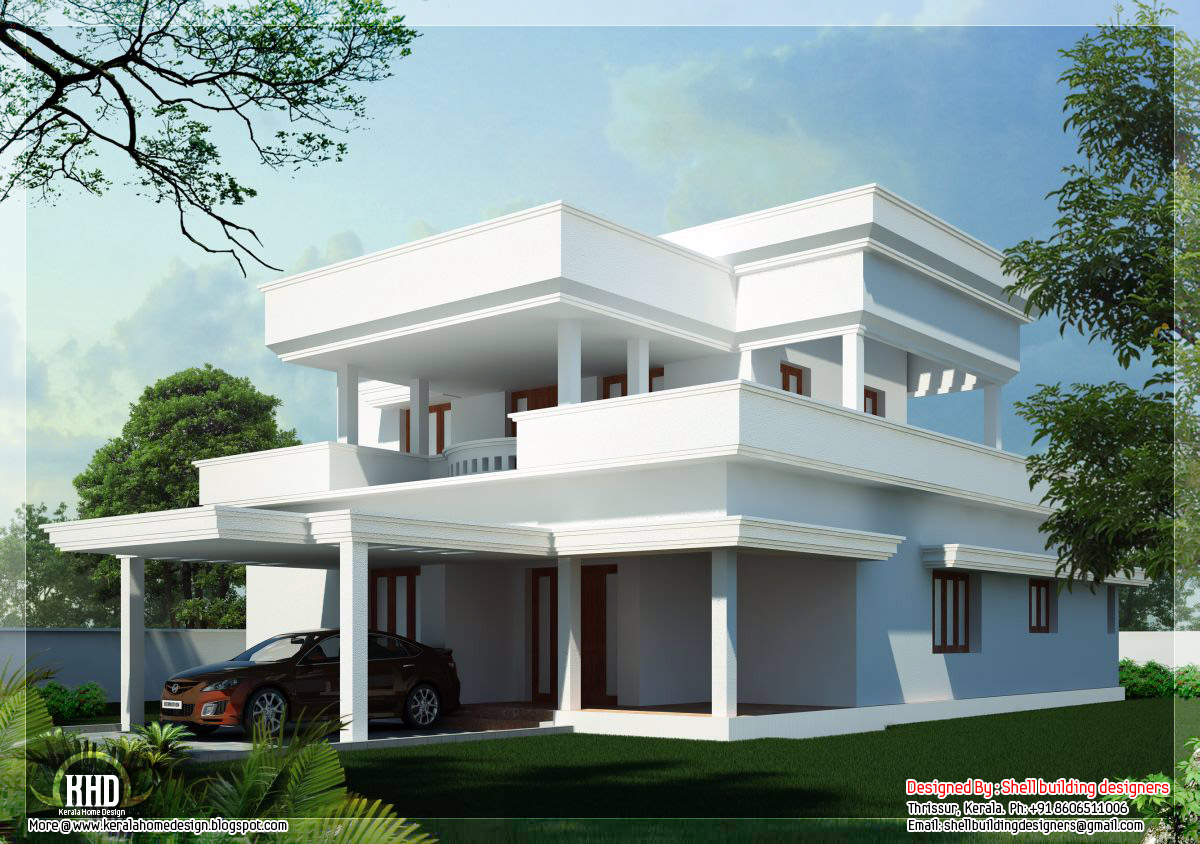 2650 beautiful flat roof home design kerala home for Flat roof elevation