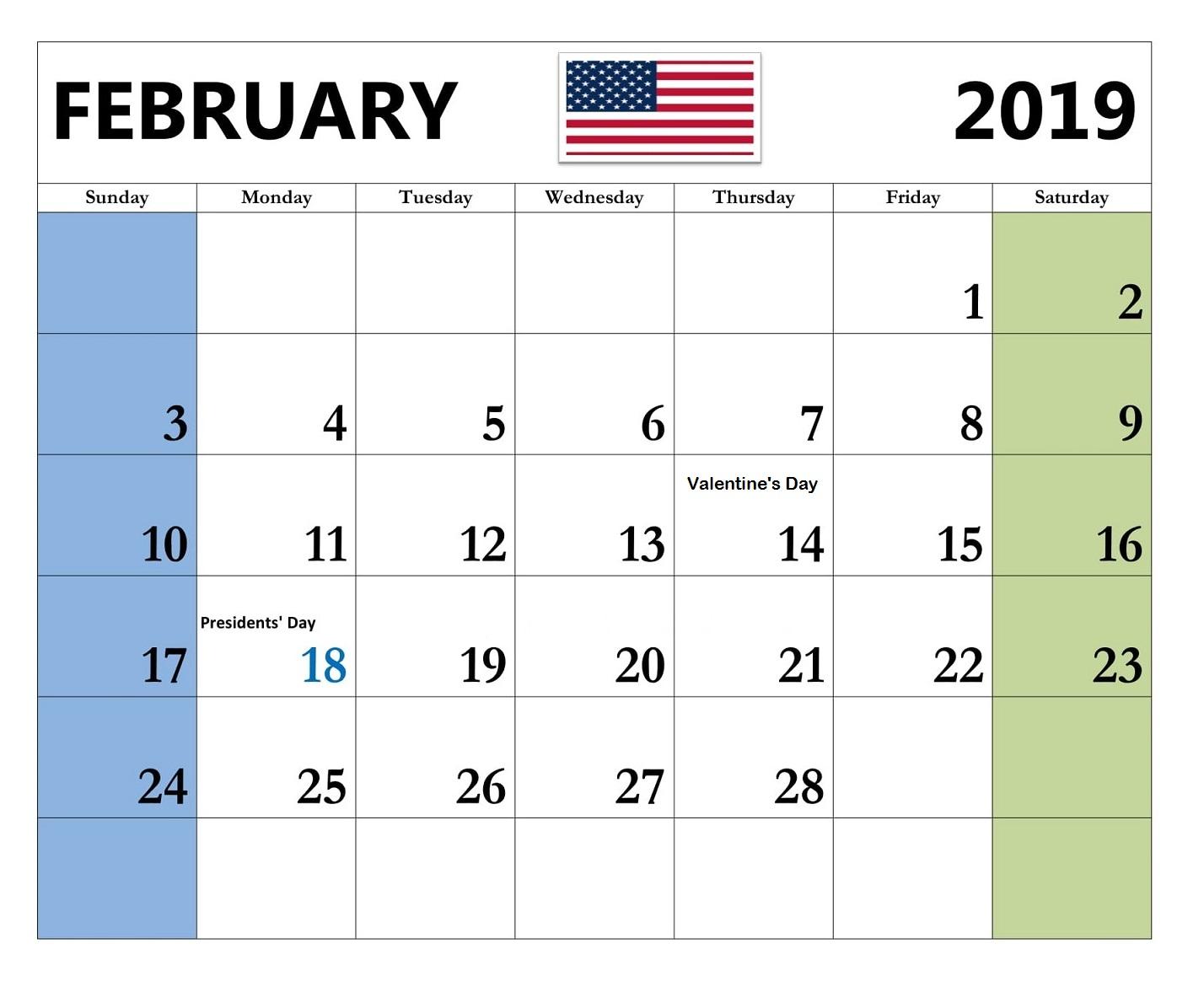 Free February 2019 Landscape Portrait Calendar Template Download