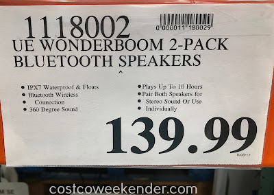 Deal for a 2 pack of Ultimate Ears Wonderboom SE Portable Bluetooth Speakers at Costco