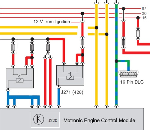 vag engine control module relay circuit showing the relay output  powering-up the ecu