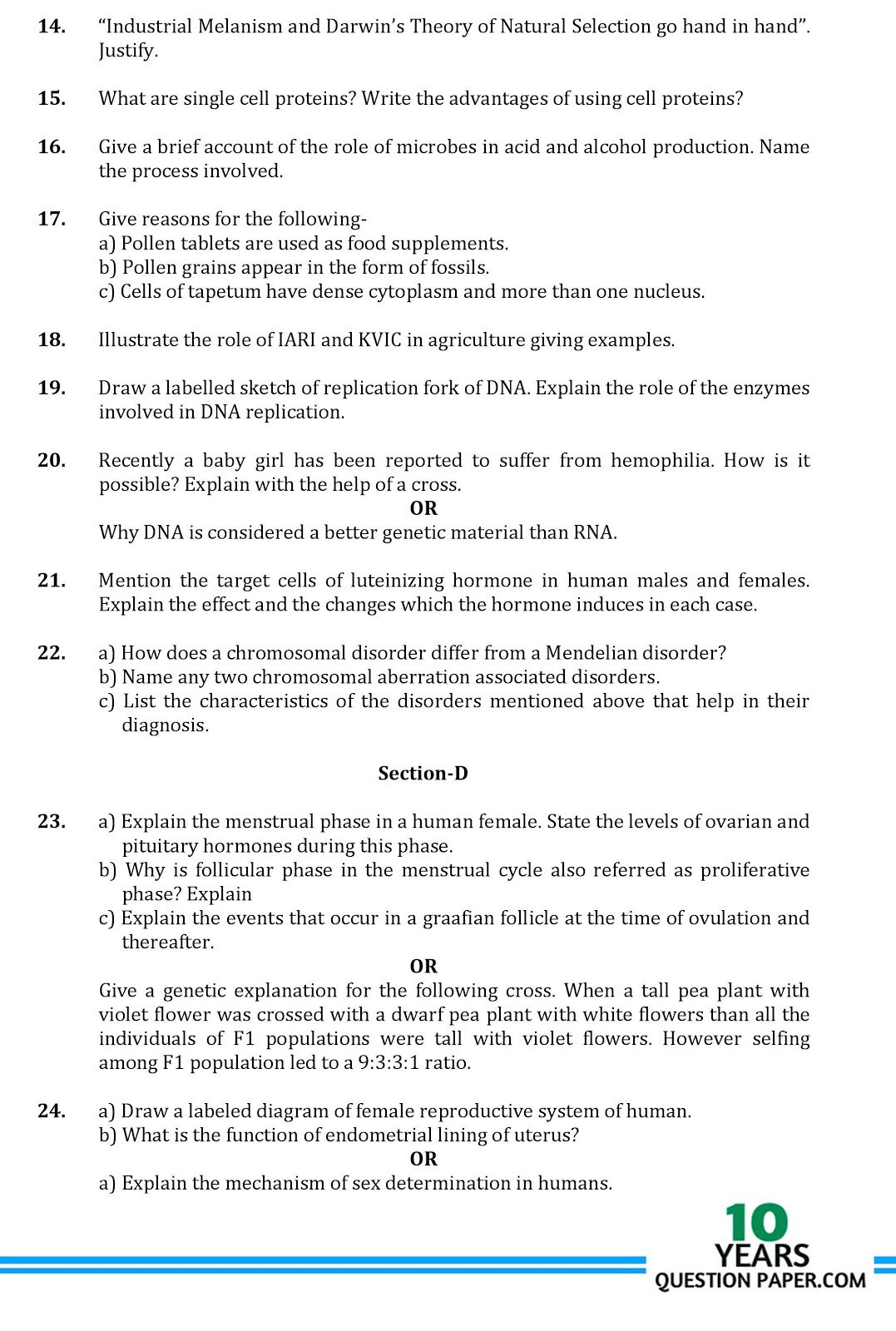 CBSE class 12th Biology sample paper
