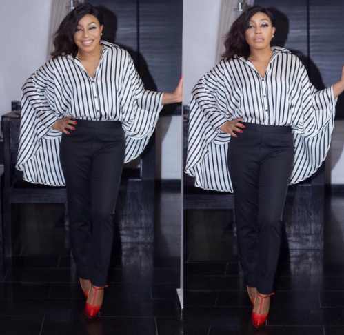 checkout Rita Dominic stunning in moochrome outfit
